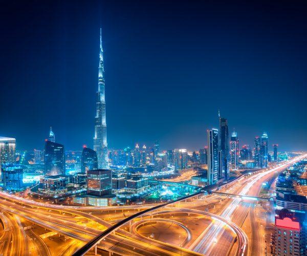 Night dubai downtown skyline, Dubai, United Arab Emirates
